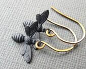 Bee Earrings- Honey Bee Earrings- Bumble Bee Earrings- Brass Bee Earrings- Black Minimalist Earrings- Luna Jewelry
