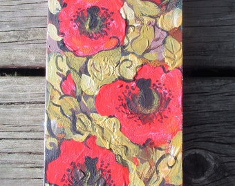 Wooden Panel, Red Poppies with Golden Leaves, Original painting