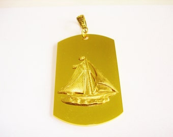 Sailing Ship Pendant Gold Tone