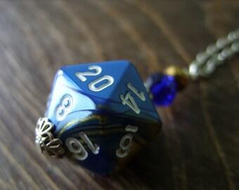 D20 dice blue yellow gold D20 dice pendant dungeons and dragons pendant dice pendant D20 pendant dice jewelry geek pathfinder D20 dice