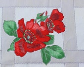 """Printed Tablecloth Mid Century Wild Red Roses 50"""" x 55"""" VINTAGE by Plantdreaming"""
