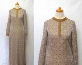 1970s Vintage Lurex Jersey Dress / Silver Gold White Polka Dot Metallic Maxi Dress