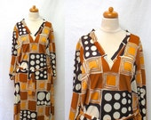 1970s Vintage Ruth Walter Jersey Dress & Sash Belt  / Brown and White Geometric Print Dress