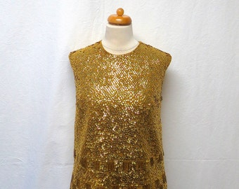 1960s Vintage Beaded Wool Top / Gold Embellished Sleeveless Top