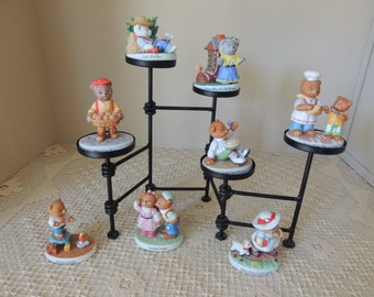 Set of Eight Nursery Rhyme Bears Figurines. Bronson Collectibles Figurines. Porcelain Figures Child's Room Decor
