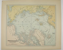 1896 North Pole Map, Arctic Ocean Map, Arctic Circle, Vintage Map Greenland, Geography Gift for Guy, Arctic Polar Region Map of North Pole