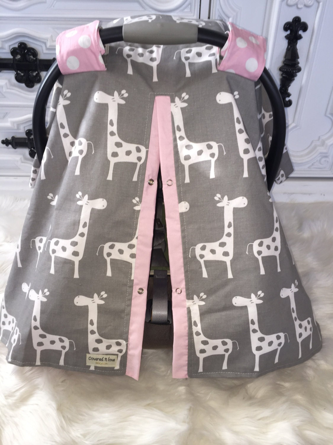 Car Seat Cover Gray And Pink Nursing Cover Giraffe