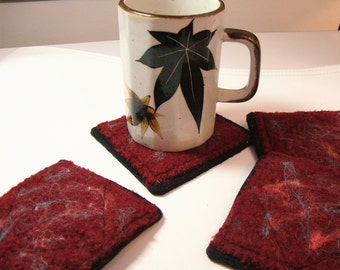 Felted wool coasters - cranberry