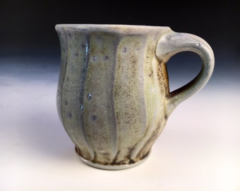 Coffee mug, cappuccino, Cup, Woodfired Porcelain Blend Ceramic Pottery by Justin Lambert