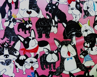 1 yard - Funny french bulldogs in pink, Westex,  Japanese import