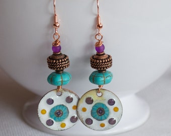 Bohemian Enamel Earrings, White Earrings, Spotted Earrings, Artisan Earrings, Stone Bead Earrings