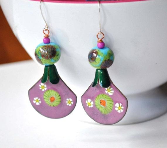 Pink Floral Earrings, Fan Shaped Earrings, Artisan Enamel Earrings, Lampwork Glass Earrings, Aqua Green Earrings, Boho Earrings