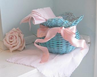Set of Four, Painted Basket with Pink Napkins, Plant Holder, Napkins, Aqua and Pink, Vintage Nursery, by mailordervintage on etsy