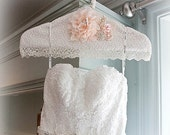 Wedding Gown Hanger, Hanger, Ivory, Cream, Peach, Blush, Wedding Dress Hanger, Lace Hanger, Photo Prop, Vintage Style, Elegant Wedding