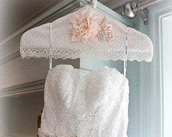 Wedding Gown Hanger, Hanger, Ivory, Cream, Peach, Blush, Wedding Dress Hanger, Lace Hanger, Photo Prop, Vintage Style, Elegant Wedding