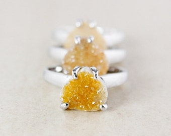 25% OFF Honey Natural Agate Druzy Ring - Choose Your Druzy - Pear Shape