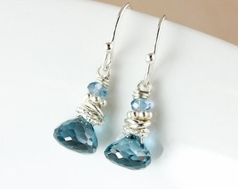 25% OFF London Blue Topaz and Blue Quartz Earrings – 925 Sterling Silver
