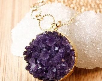 50 OFF SALE Long Druzy Necklace - Purple, Grey, Maroon Druzy - Choose Your Druzy Stone