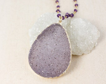 Lavender Purple Druzy Layering Necklace – Choose Your Stones