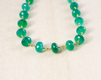 Green Onyx Beaded Necklace – Choose Your Length