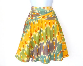 Designer Skirt - Mini - Cotton Batik - Full Skirt - Tie Back - Colorful - Size 2 - Yellow - Green - Blue - Orange - Lavender - Cruise