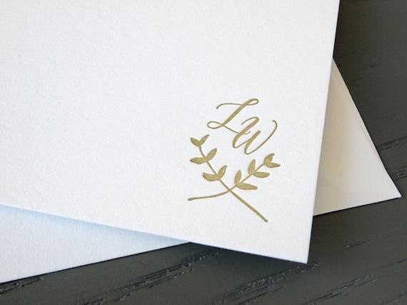Laurel Monogram Custom Letterpress Stationery - Personalized Set of Flat Notes