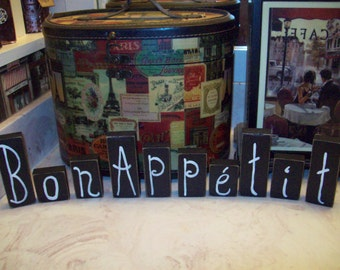 Bon Appetit Letter Blocks French Kitchen Signs French Decor Cooking Signs Cottage
