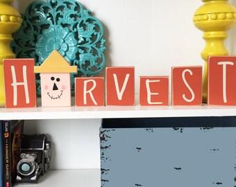 Harvest Blocks- Fall Decor, Harvest Decor, Autumn Decor, Scarecrow Decor, Wood Scarecrow, Wood Fall Sign, Harvest Sign, Autumn sign