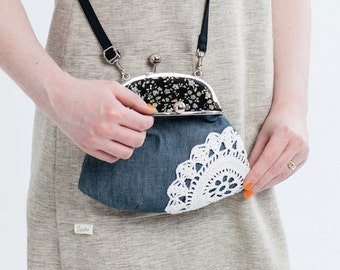 purse with vintage lace, denim
