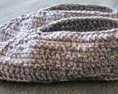 Crocheted Men's Slippers Fits Sizes 10 to 11, Fathers Day Gift, Grey and White