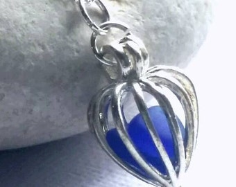 Sea Glass Locket  Cobalt Blue Sea Glass Heart Locket and Sterling Silver Necklace From Puerto Rico