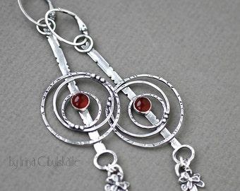 """Long Sterling silver Earrings with Carnelian - """"Ronda"""""""