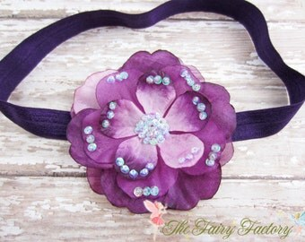 Eggplant Purple and Lavender Flower Headband, Layered Flower w/ Sequins Eggplant Headband or Hair Clip, Newborn Baby Child Girls Headband