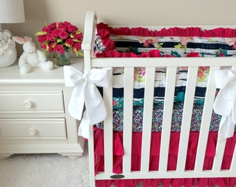 Ritzy Baby Made to Order Custom Baby Bedding, We Offer Easy Payments, Lavish Flowerful Dandle and Hot pink Custom Baby Bedding