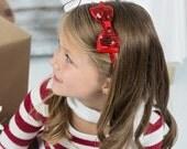 Red Sequin Bow Headband, Girls Red Headband, Holiday Bow Headband, Girls Hair Accessories, Christmas Hair Bow, Red Sequin Hair Bow Band