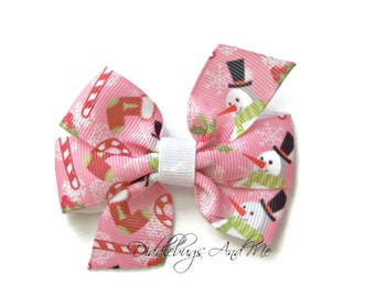 Snowman Hair Bow, Holiday Hair Bow, Christmas Hair Bow, Snowman Bow, Candy Cane Bow, Stockings Hair Bow, Piggy Tail Bows, Toddler Bows