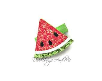 Watermelon Hair Clip, Fruit Hair Clip, Girls Red Watermelon Hair Clip, Summer Hair Clip, Sparkle Watermelon Hair Clip, Girls Hair Clips