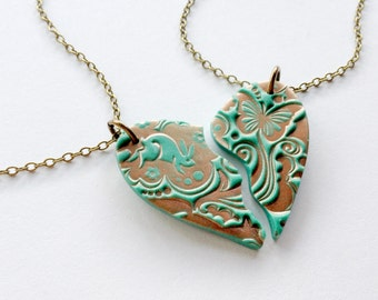 BFF Necklace Set in Teal and Copper