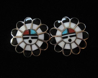 Zuni Sun Face Sterling Silver Clip On Earrings, Inlaid Shell and Stone