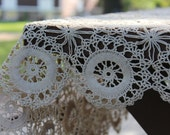Vintage Tablecloth Hand Crocheted Doily Style GORGEOUS Circular Floral Design Wedding Home Decor Ecru Antique Cottage Chic Large Rectangular