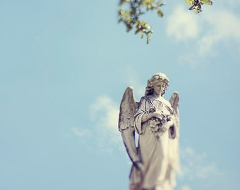 New Orleans Angel Statue Photograph, Cemetery Picture, Travel Print, Angelic Wall Art, Home Decor, Louisiana Photography, Gift for her