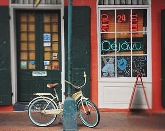 "New Orleans French Quarter Art Print. ""Deja Vu Bike"" Photograph. Affordable Wall Art, Home Decor, Photography."