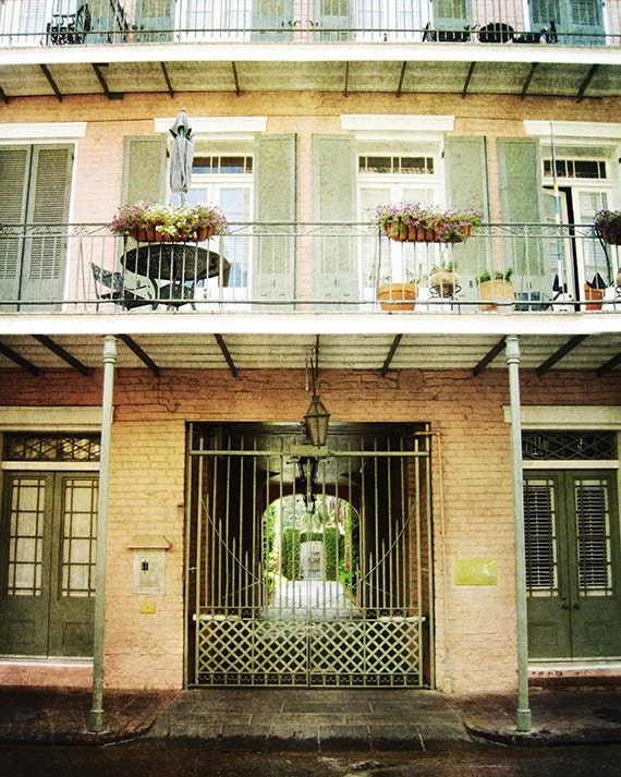"French Quarter Photograph for Sale. New Orleans 8""x10"" Print. Mardi Gras. Courtyard. Architecture."