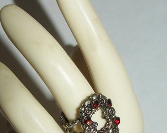 Free Shipping Bohemian GARNETS Austro Hungarian Art Nouveau Very Unusual Floral Design Czech Absolutely Gorgeous Ring