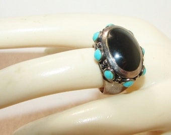 Free Shipping Big Genuine Turquoise Southwestern Native American Bold Ring Onyx Sterling Silver Vintage