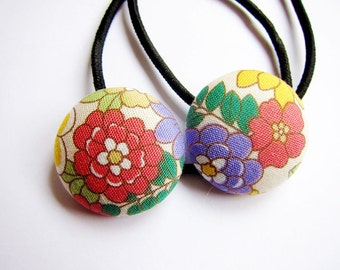 Button Ponytail Holders - Flowers in Spring