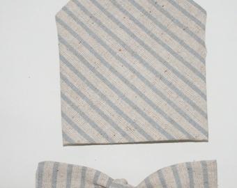 Men's Bow-tie & Pocket square set - Striped, linen,men's gift set