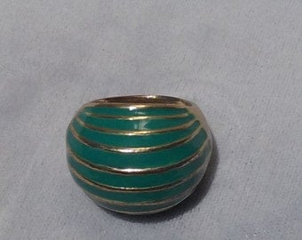 Vintage Gold Turquoise Enamel Metal Bulb Statement Ring Jewelry Accessory Size 7