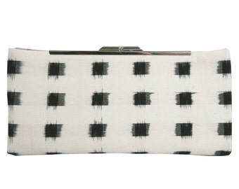 Black and White Ikat Clutch