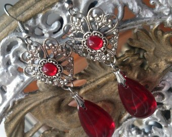 Tudor earrings antique silver filigree Baroque Tudor Georgian Victorian period goth